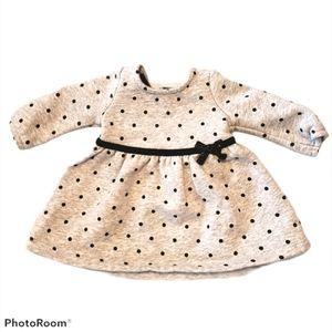 Newborn Sweatshirt Dress Heather Grey Polkadot